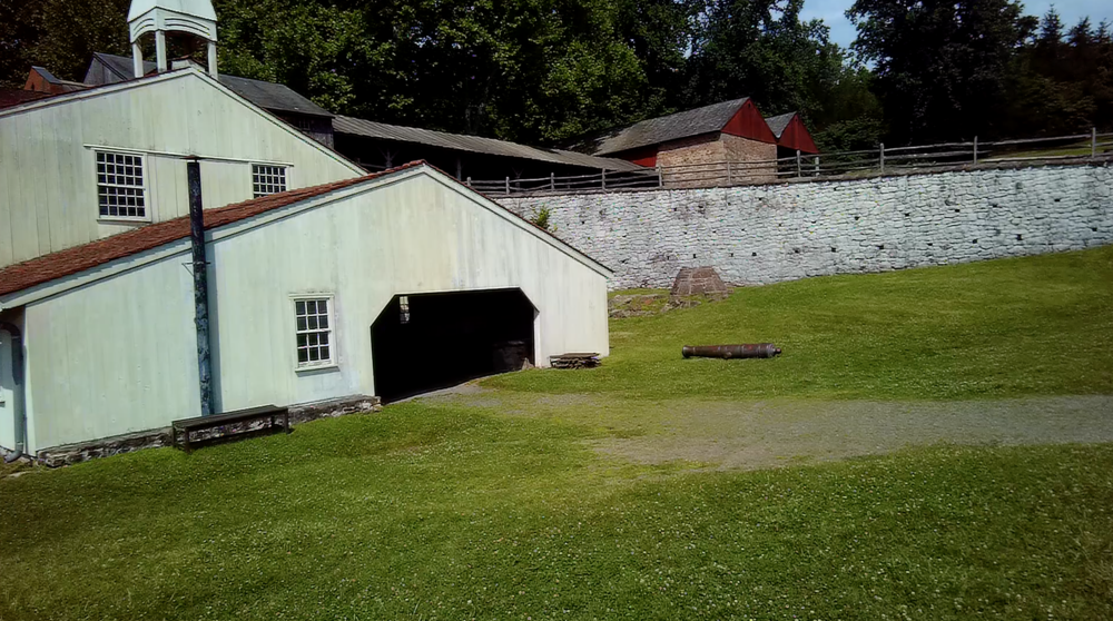 Some restored buildings in the Hopewell Furnace site.