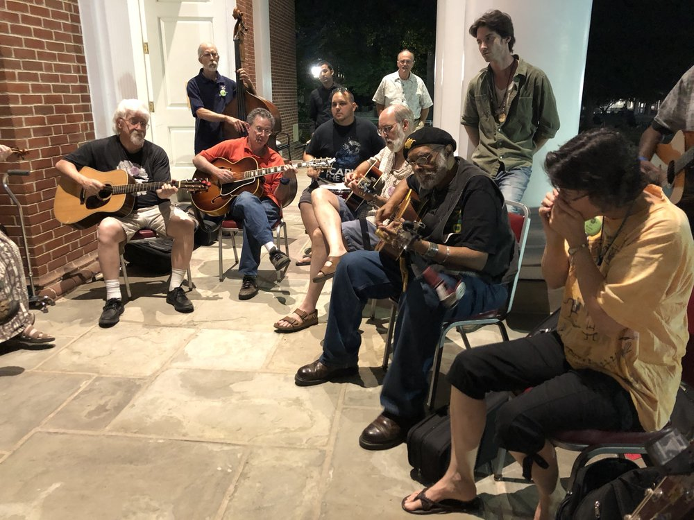 Whole lotta talent at post-concert blues jam, including Sparky and Rhonda Rucker (far right)