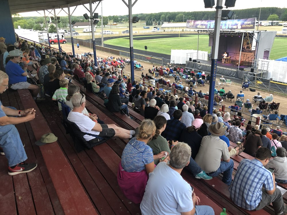 Grandstand and track seating filled up early at the Friday night concert.