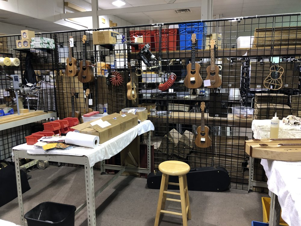 The finishing area at Folkcraft Instruments - Woodburn, Indiana.
