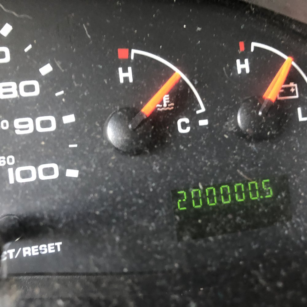 The big 200,000! (and a real dirty dashboard.)