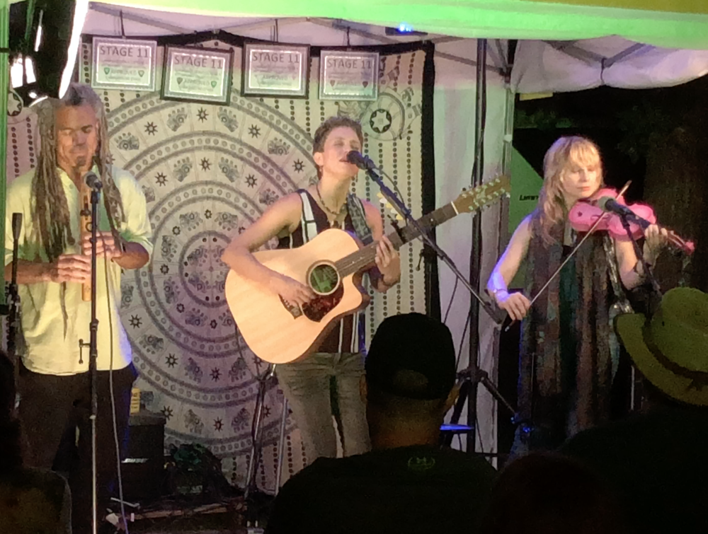 Jamming with Christie Lenée and Lydia Bain on Stage 11, Thursday night.