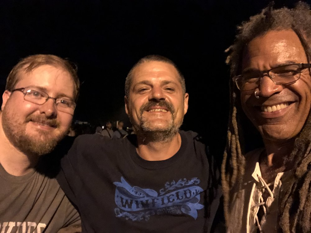 With James Houston Bales and Arch Stanton after a fun old-time jam by the roadside in Pecan Grove.