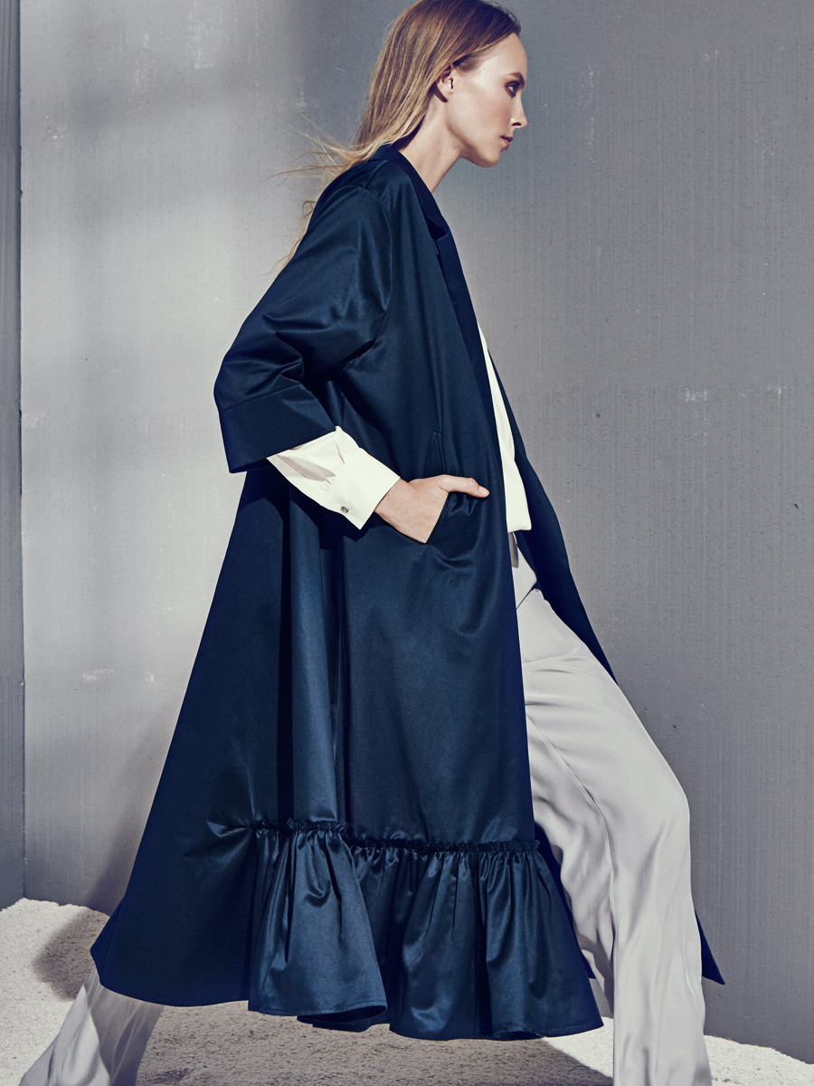 JADE COAT  Heavy-Weight Cotton  -  ADEL TOP  Stretch Charmeuse, Knit Linen  -  JASPER PANTS  Non-Stretch Charmeuse