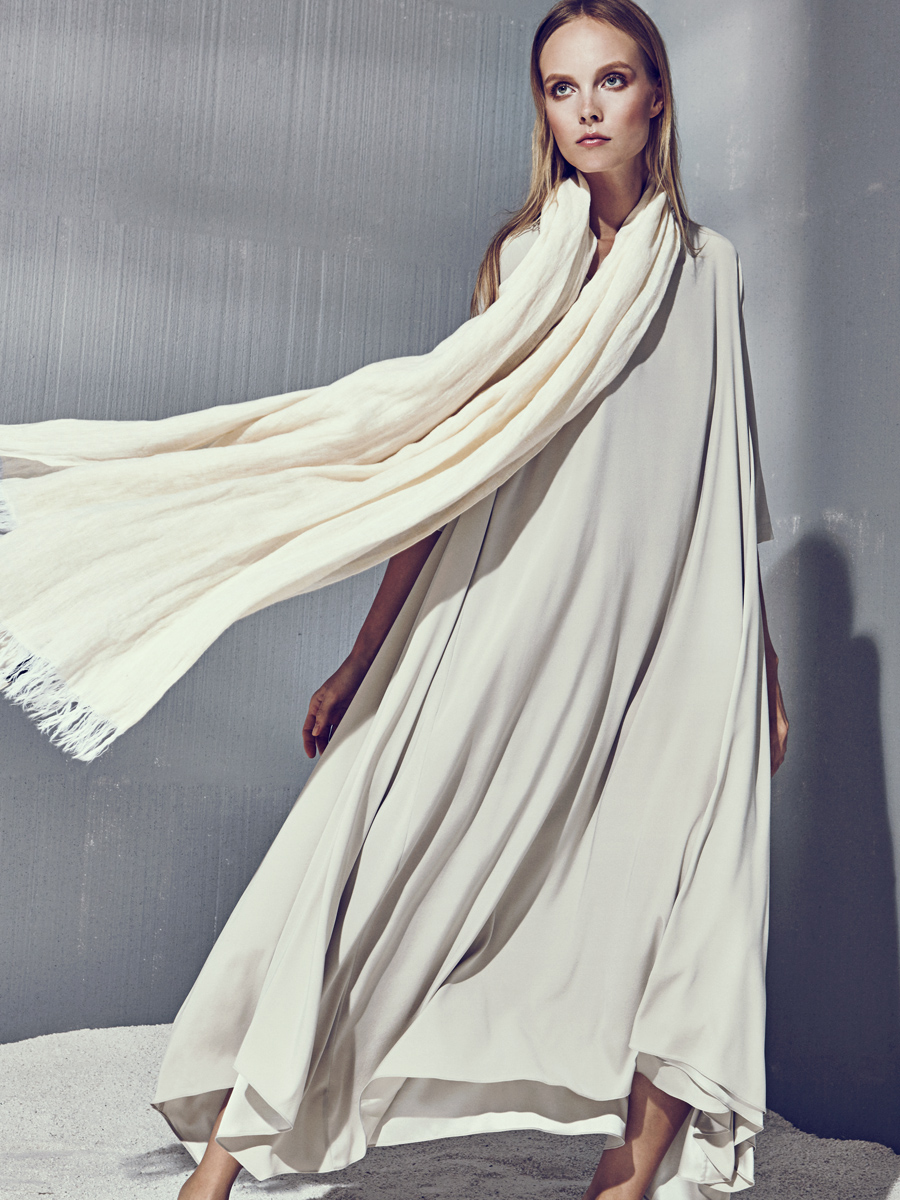 KATIE DRESS  Stretch Charmeuse  -  LINEN SCARF  Washed Crinkle Linen