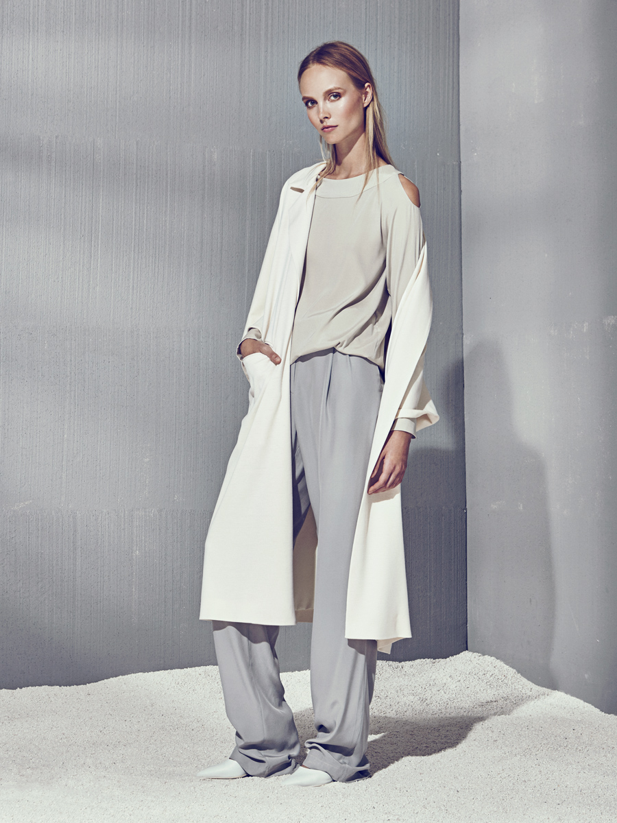 MEAGAN LONG COAT  Wool Jersey, Stretch Silk Charmeuse Lining  -   KARLA TOP  Stretch Charmeuse  -  JASPER PANTS  Non-Stretch Charmeuse      Contact for inquiry
