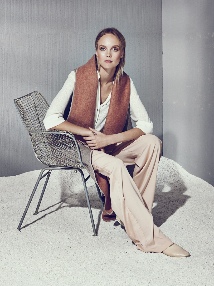 DANIKA VEST  Double Faced Cashmere  -   AARON SHIRT  Knit Linen  -   EDDIE PANT  Stretch Charmeuse      Contact for inquiry