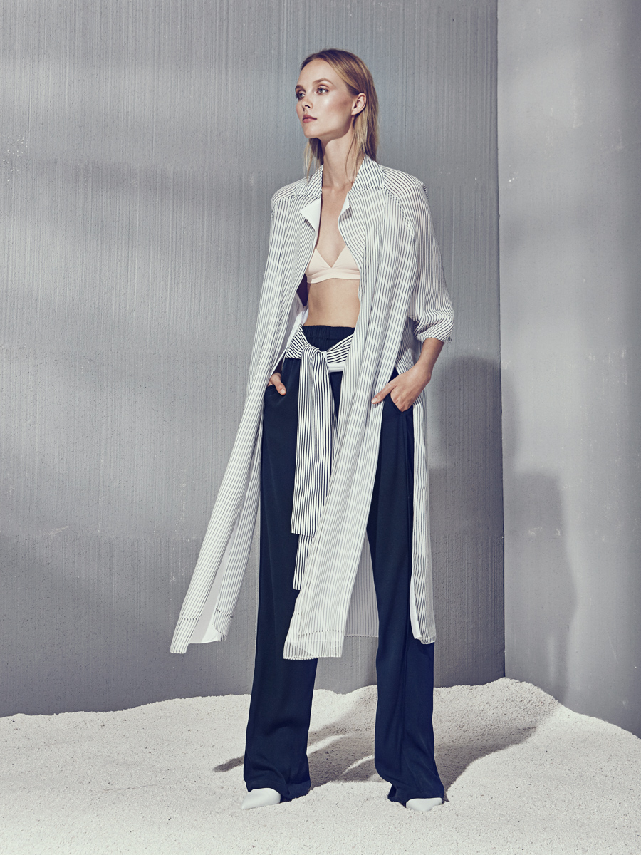 GARANCE JACKET  Crepe de Chine  -  EDDIE PANTS  Stretch Charmeuse  -  MAGGIE SWIMSUIT  Milliskin Matte      Contact for inquiry