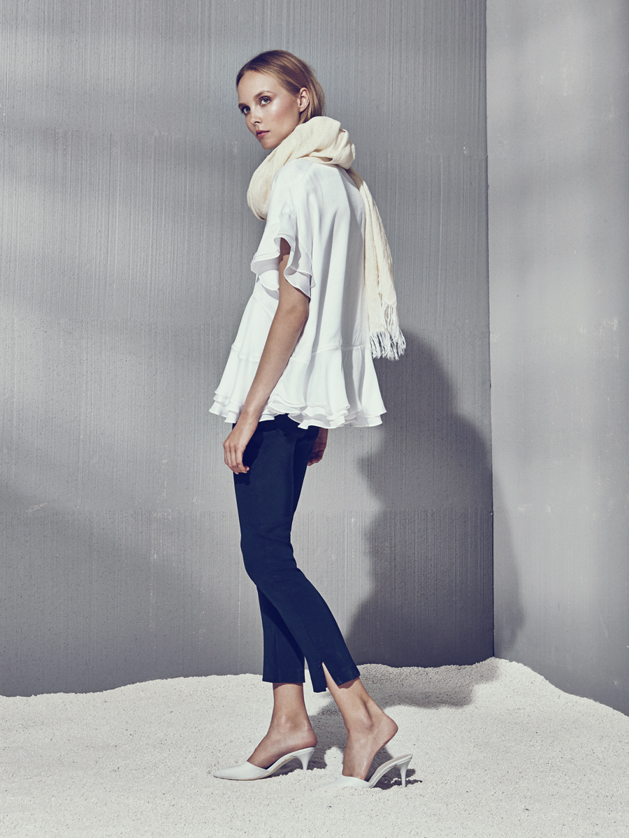 BOBBY TOP  Satin-Faced Chiffon  -  PIPPA PANTS  4 Ply Silk  -  LINEN SCARF  Washed Crinkle Linen