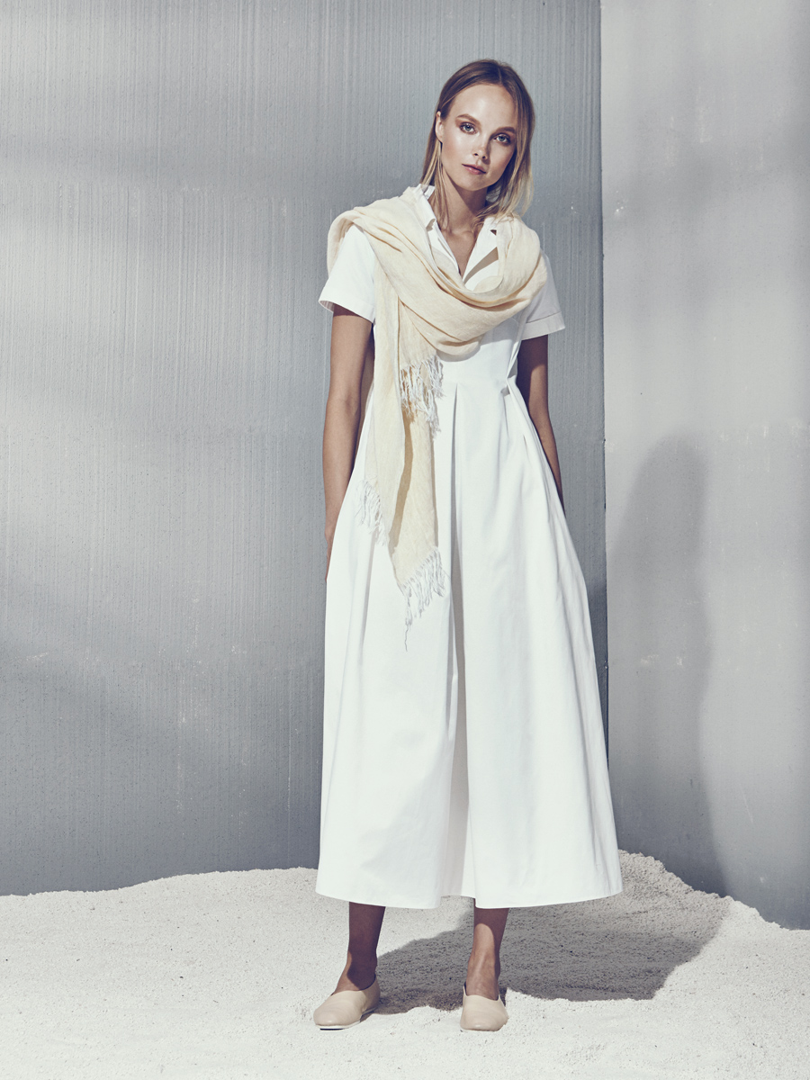 EUGENIA DRESS  Cotton  -  LINEN SCARF  Washed Crinkle Linen