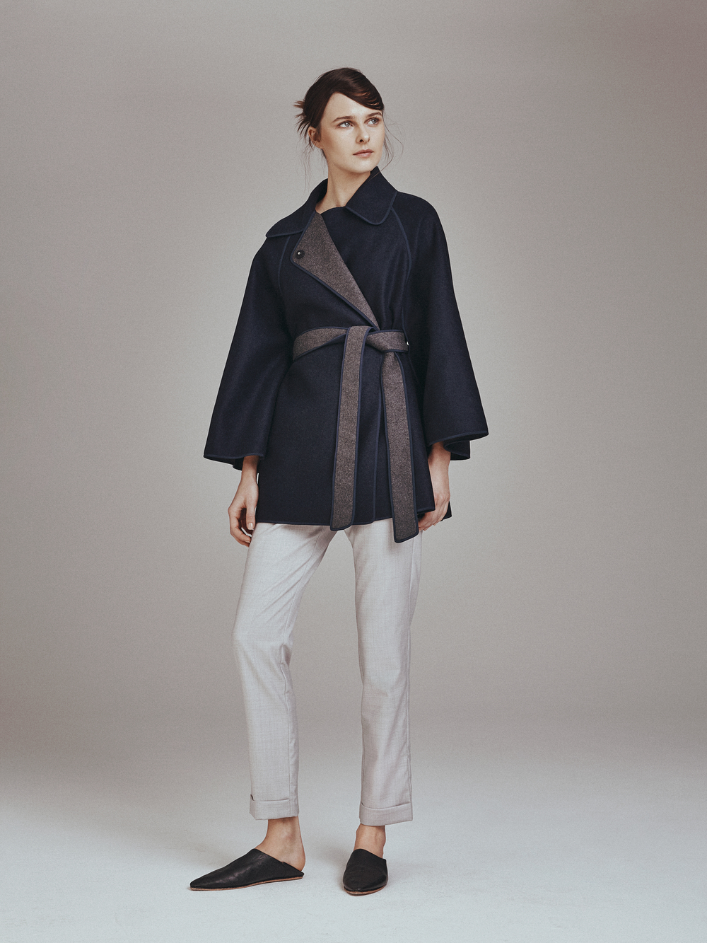 RIVER REVERSIBLE CAPE   Double Faced 100% Cashmere  -  NIXON PANTS  English Wool      Contact for inquiry