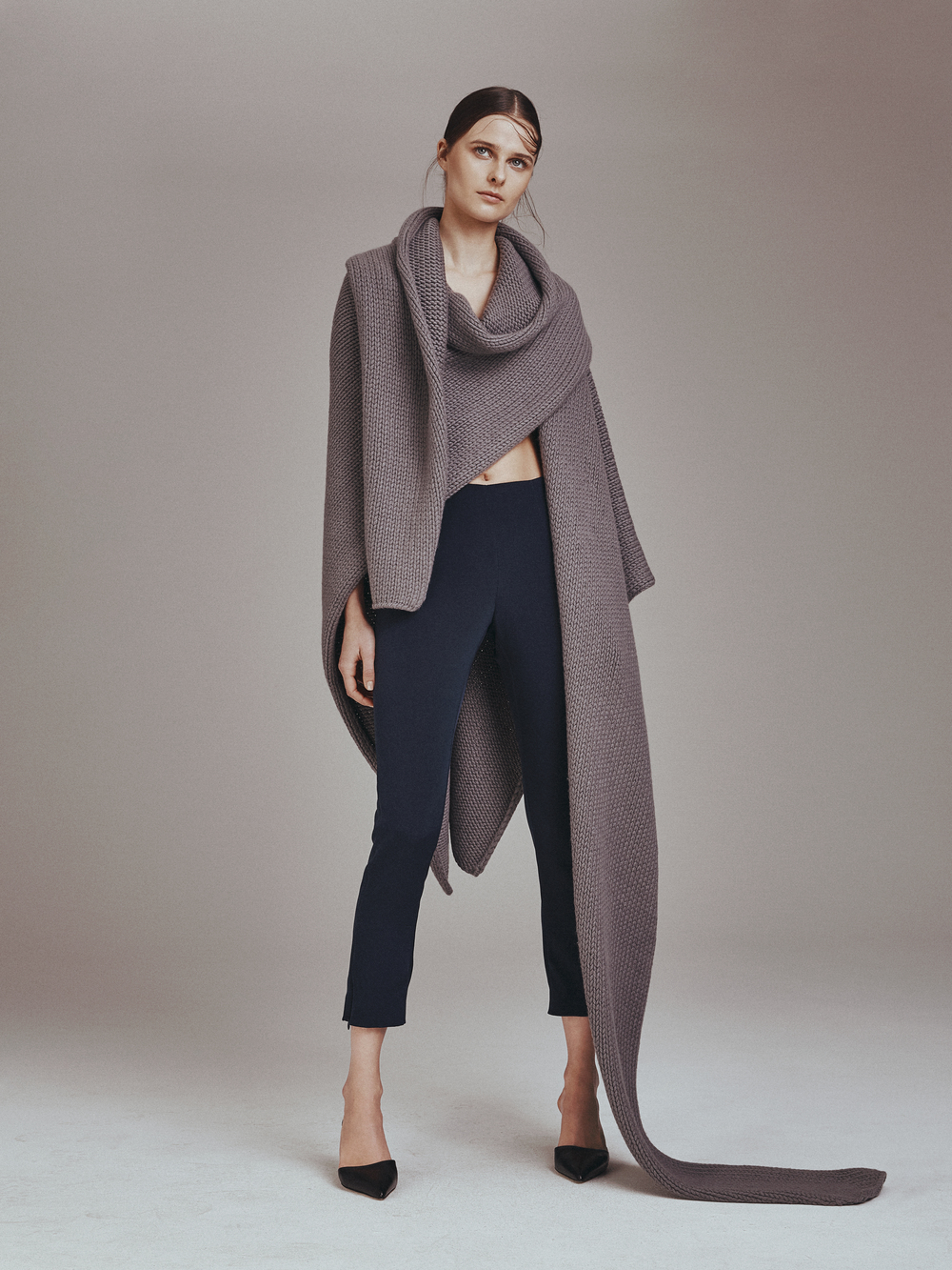 ANGELO SCARF  Superliuma Knit 100% Cashmere  Partially Hand-Knitted in Italy  -   PIPPA PANTS  4 Ply Silk