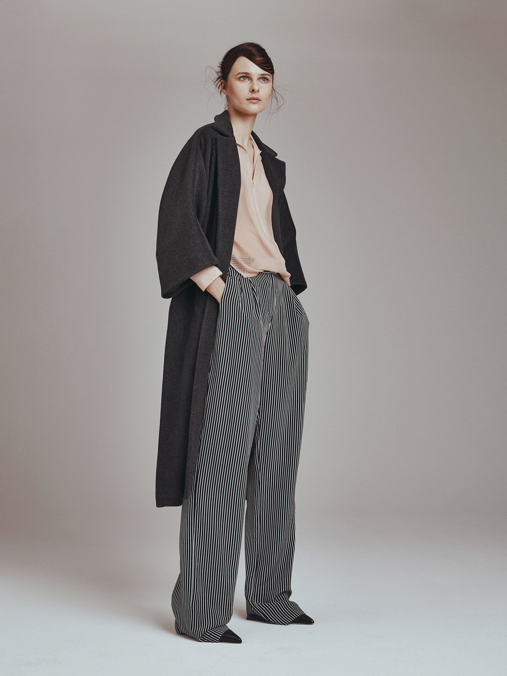 MEAGAN COAT  Lustrous Melton Wool  -   JESSICA TOP  Chiffon  -   JASPER PANTS  Crepe de Chine      Contact for inquiry