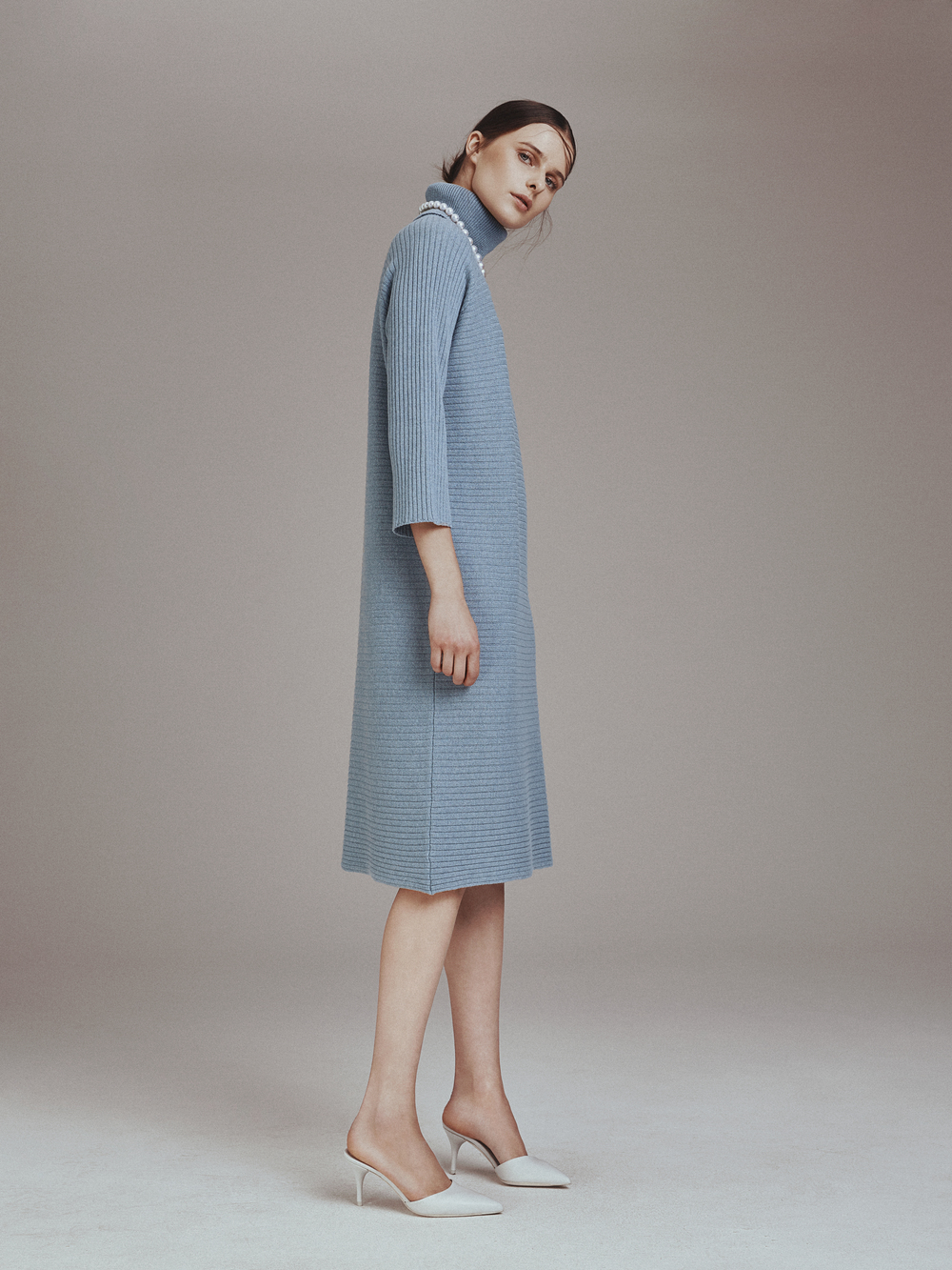 VIVIANA DRESS  Knit 100% Cashmere  -   ELIZABETH PEARLS  South Sea Pearls