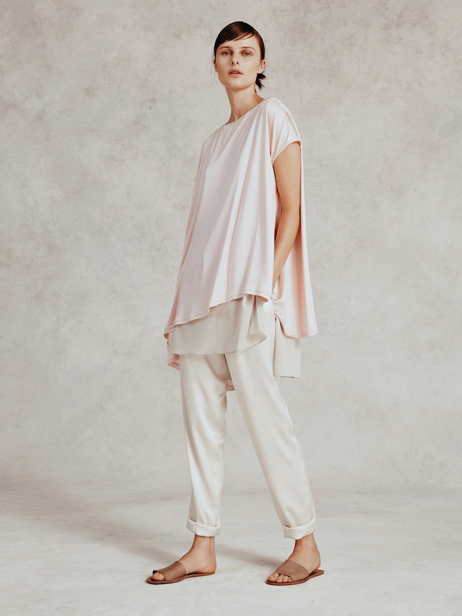 BONNIE TOP  Silk Jersey  -  ROSE TOP  Stretch Chiffon  -  KACI PANT  Stretch Charmeuse      Contact for inquiry