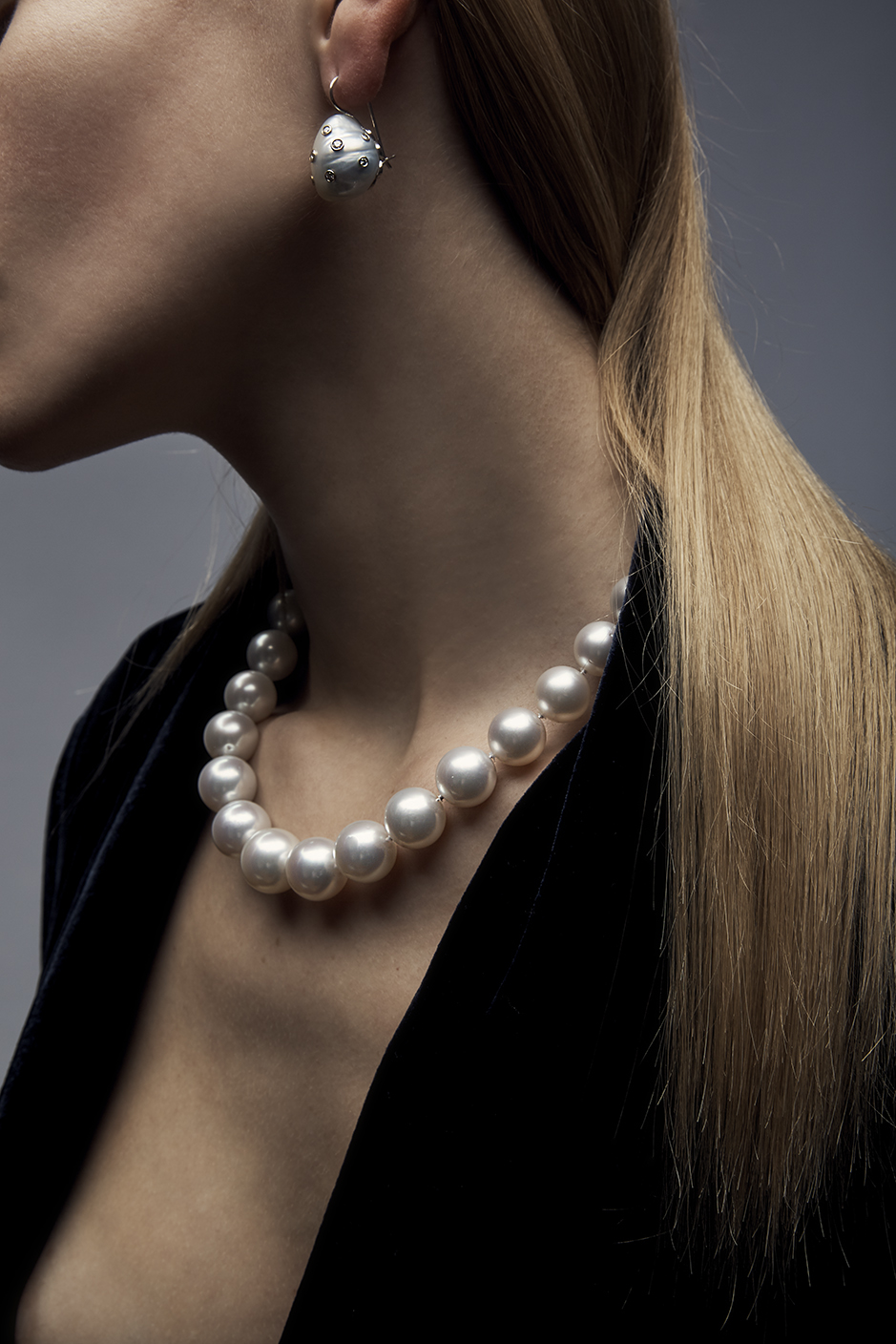 ELIZABETH NECKLACE  SOUTH SEA PEARLS     BAROQUE EARRINGS  BAROQUE PEARLS .48 CT OF DIAMONDS      Contact for inquiry