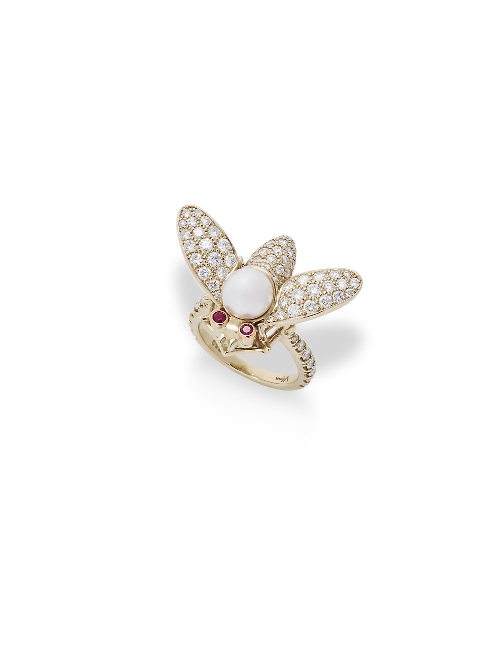 VALENTINA BUG RING   18 K GOLD 2.0 CT OF DIAMONDS .16 CT OF RUBY