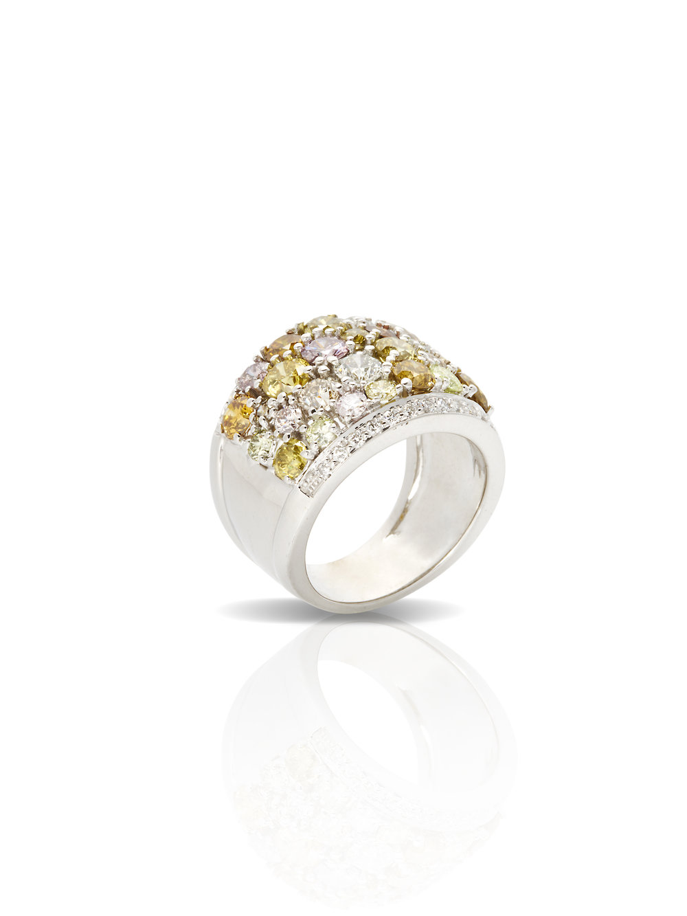 KATE RING   18 K GOLD .25 CT OF WHITE DIAMONDS 3.97 CT OF COLORED DIAMONDS