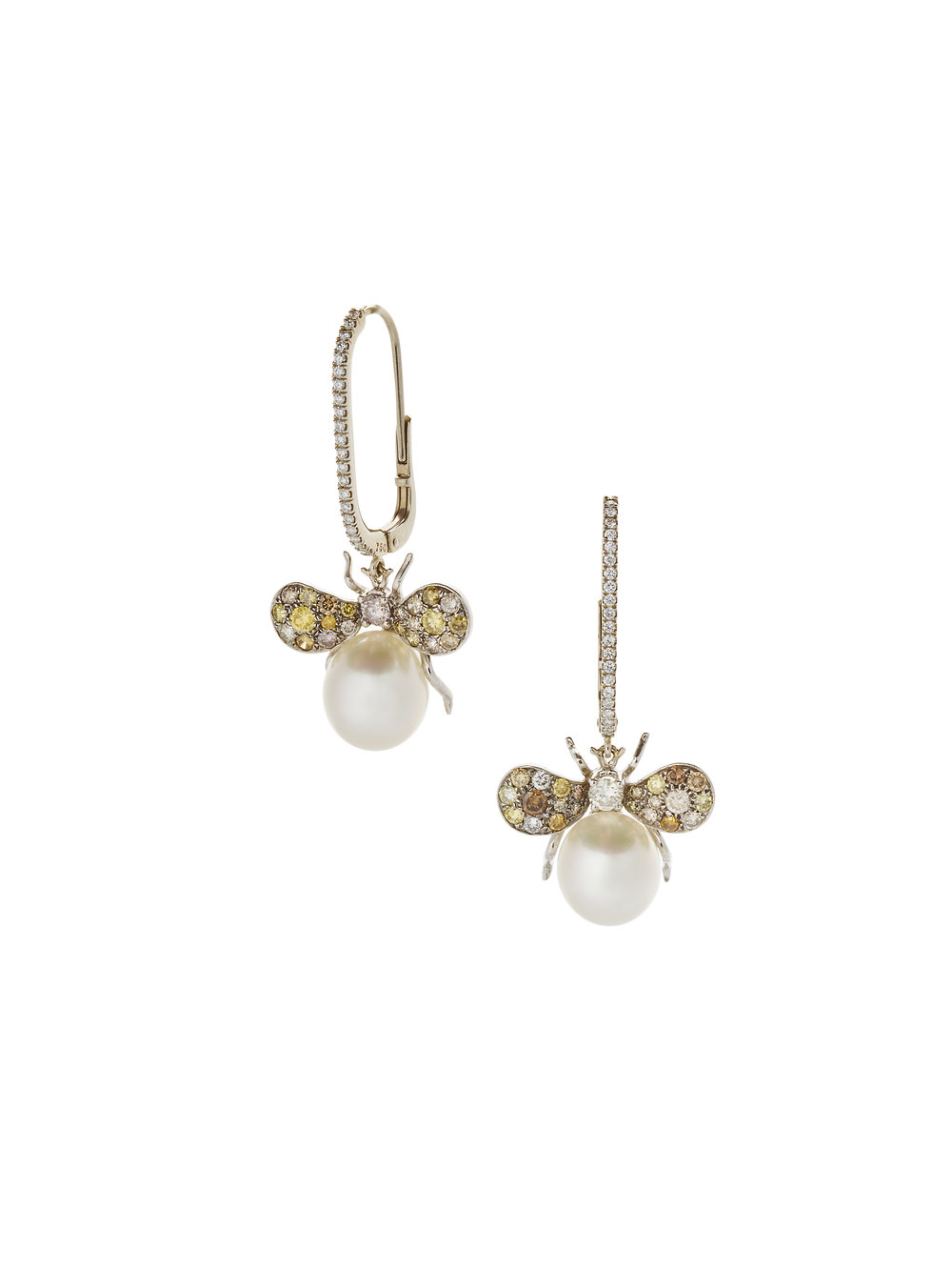 SAYURI BUGS EARRINGS    18 K GOLD SOUTH SEA PEARLS 2.2 CT OF DIAMONDS      Contact for inquiry