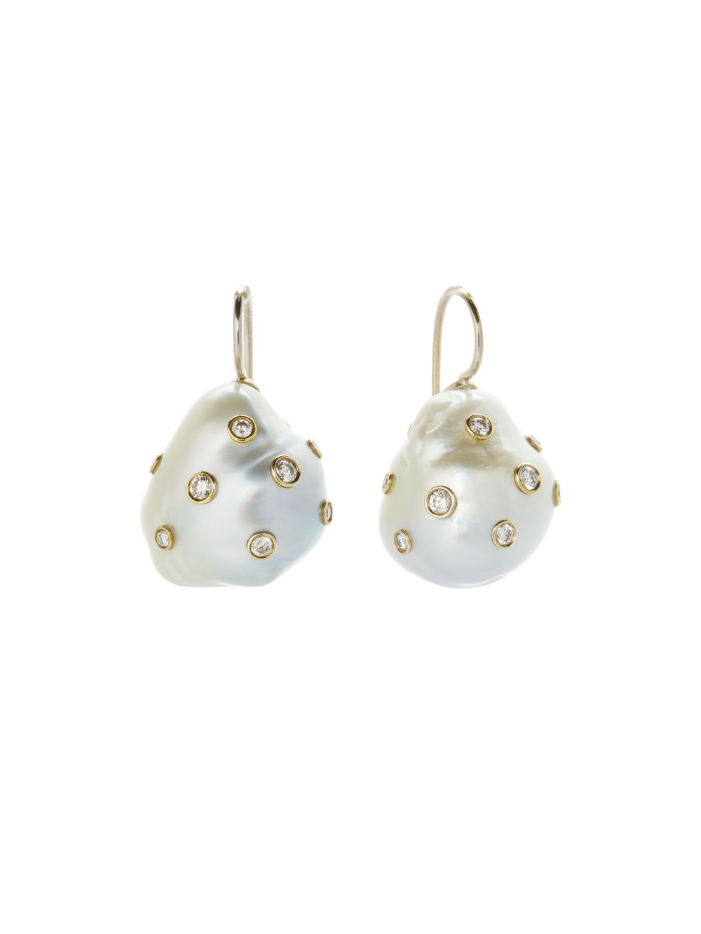 BAROQUE EARRINGS   BAROQUE PEARLS  .48 CT OF DIAMONDS      Contact for inquiry