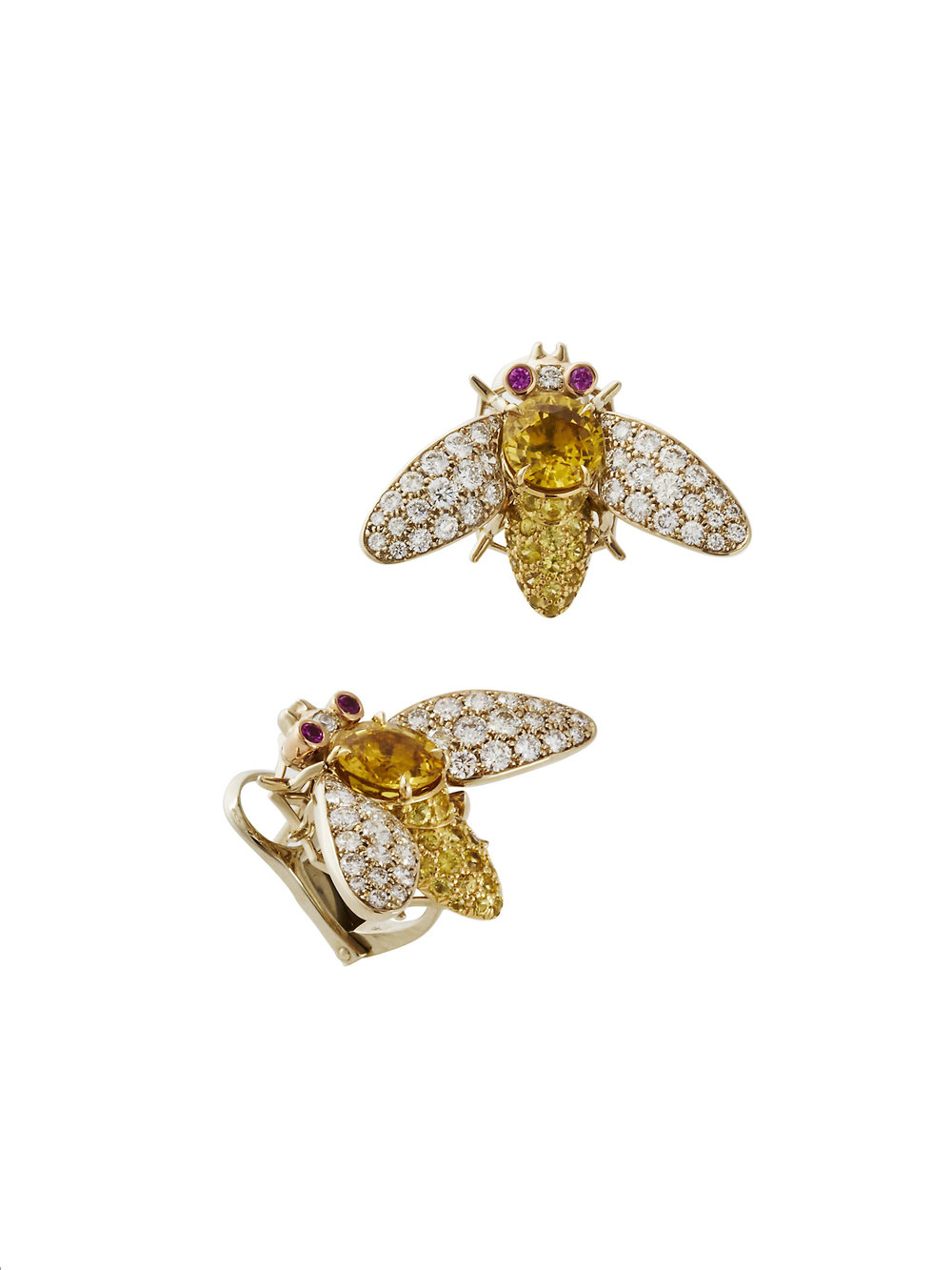 YELLOW BEES EARRINGS   2.22 CT OF DIAMONDS 1.8 CT Small Yellow Sapphires 4.55 CT Center Stone Yellow Sapphire (6.35 CT Sapphire Total)       Contact for inquiry