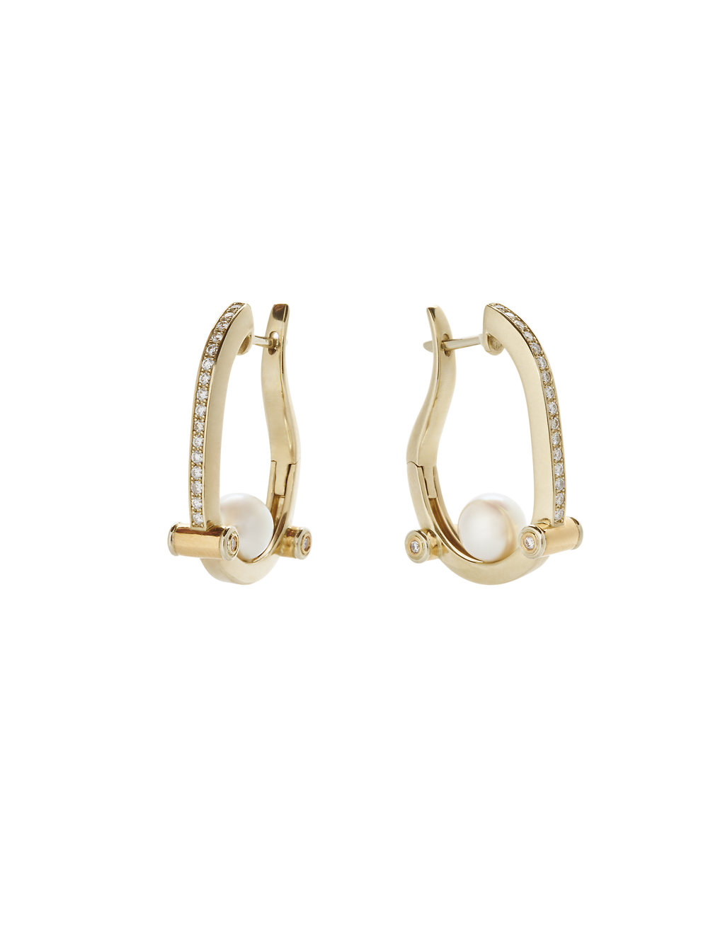 HOOP EARRINGS   18 K GOLD  SOUTH SEA PEARLS  .48 CT OF DIAMONDS      Contact for inquiry