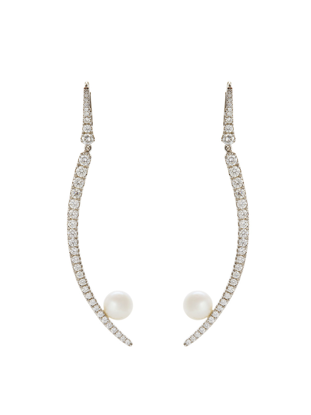 LAUREN EARRINGS   4.53 CT OF DIAMONDS SOUTH SEA PEARLS      Contact for inquiry
