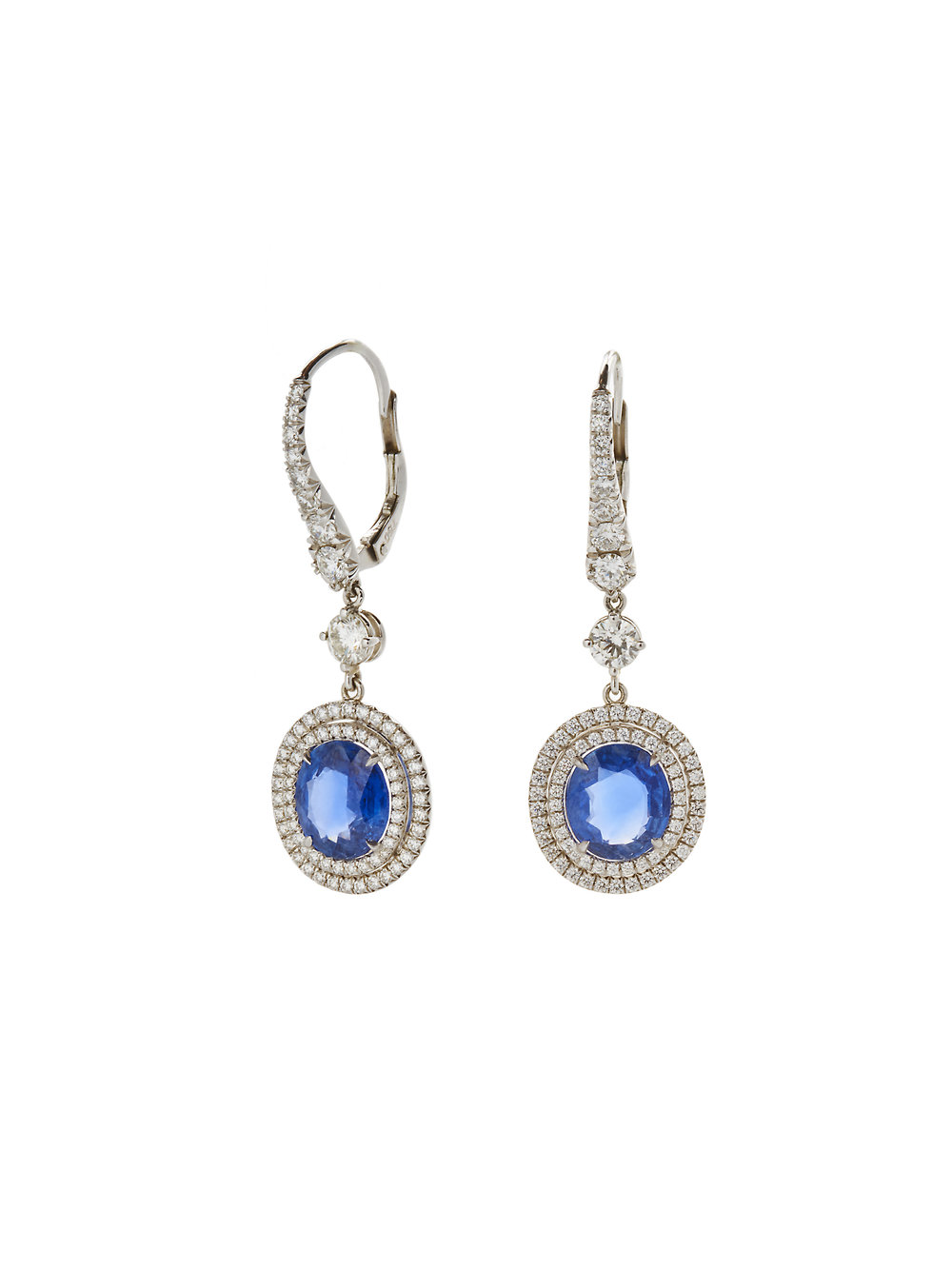 GUINEVERE EARRINGS    18 K GOLD 1.63 CT OF DIAMONDS 6.5 CT OF NATURAL SAPPHIRE