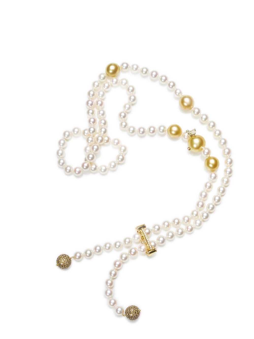 MARILYN NECKLACE   SOUTH SEA PEARLS 4.26 CT OF DIAMONDS     PEARL CLASP    18 K GOLD .2 CT OF DIAMONDS