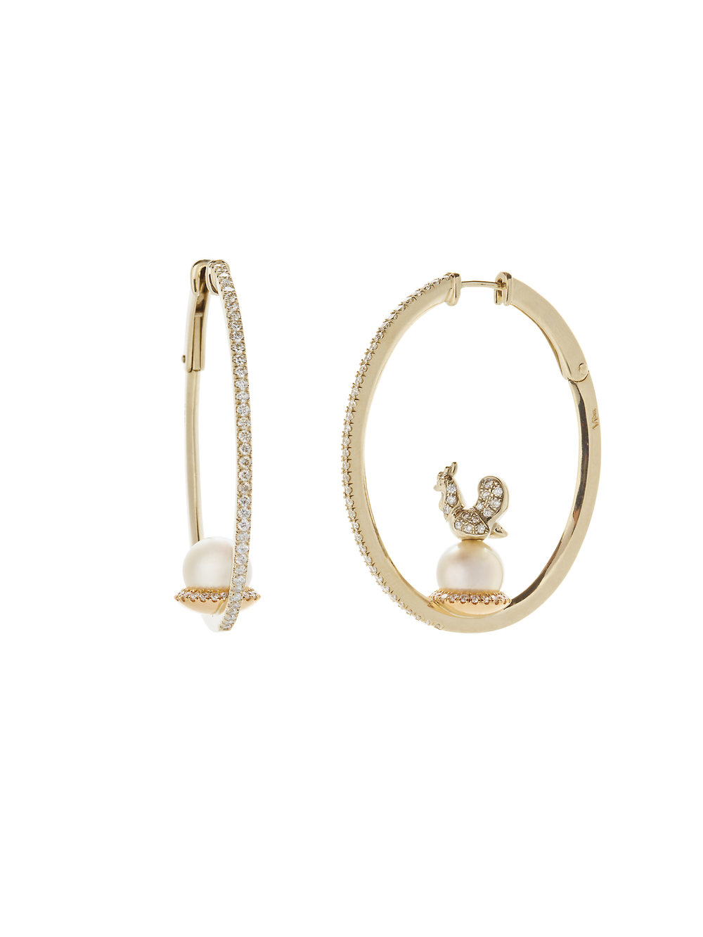 PEARL HOOP WITH ROOSTER    18 K GOLD SOUTH SEA PEARLS .48 CT OF DIAMONDS