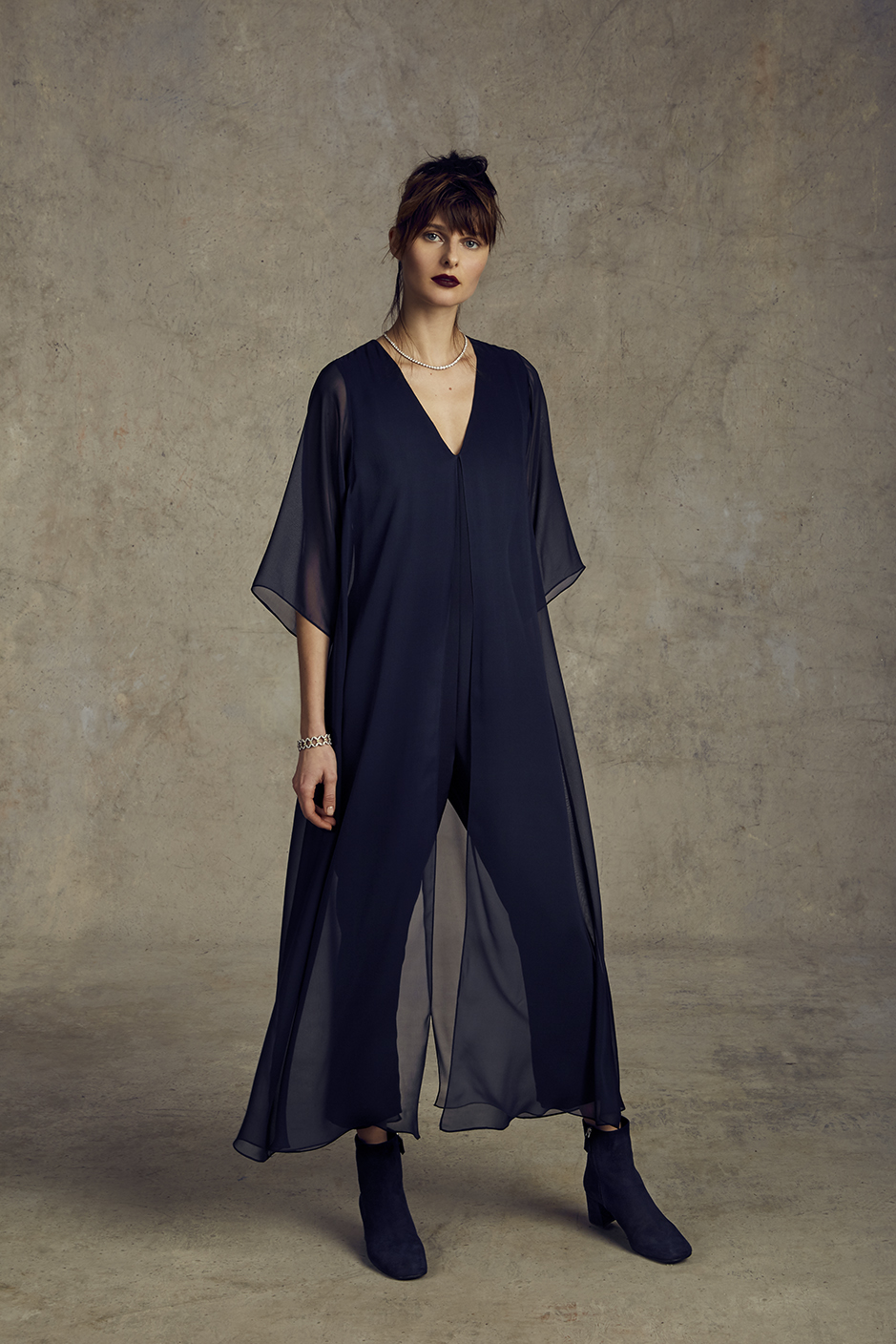 CARA JUMPSUIT   STRETCH 4-PLY, SILK CREPE CHIFFON      Contact for inquiry