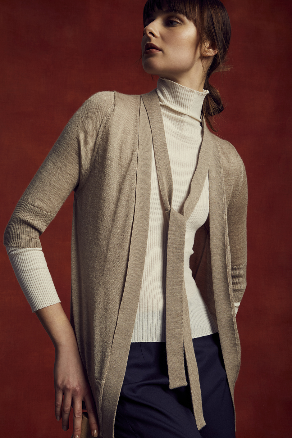 JORDAN CARDIGAN   70% CASHMERE 30% SILK      URBANA TURTLENECK   STRETCH CASHMERE      PIPPA PANT   STRETCH TASMANIAN SUPER 150'S WOOL      Contact for inquiry