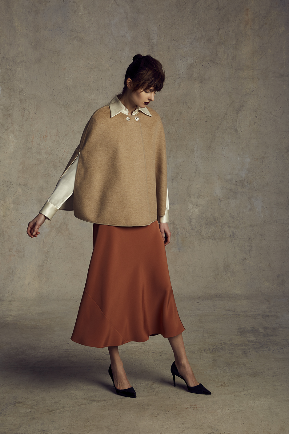 MIROSLAVA REVERSIBLE CAPE   DOUBLE FACE CASHMERE      JEREMY BLOUSE   CREPE BACK SILK SATIN      DAVID BIAS SKIRT   4-PLY SILK CREPE      Contact for inquiry