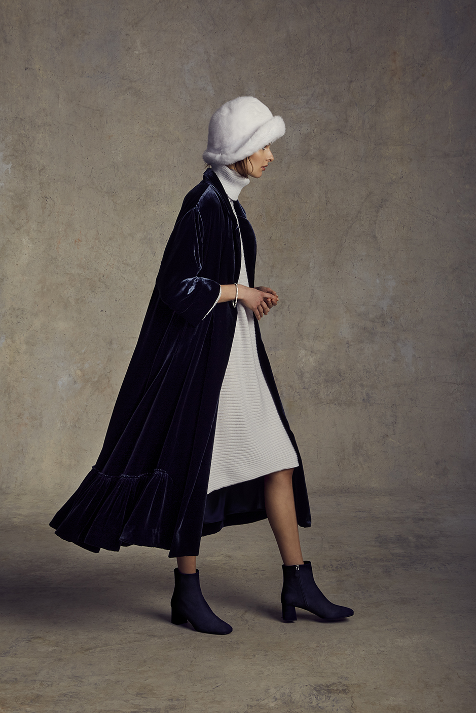VIVIANA DRESS   CASHMERE      JADE COAT   VELVET SILK CHARMEUSE LINING      DEVON HAT   MINK, CREPE BACK SILK SATIN LINING      Contact for inquiry