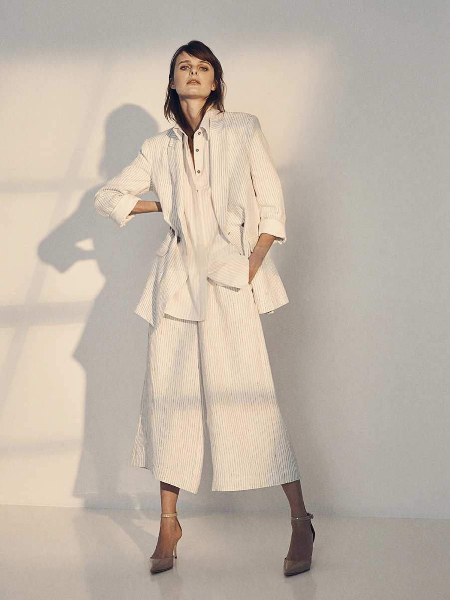 REZAN JACKET   WASHED LINEN  NON-STRETCH SILK CHARMEUSE LINING     LILY BLOUSE   COTTON&LINEN TEXTURED STRIPE     JACKIE PANT   WASHED LINEN  NON-STRETCH SILK CHARMEUSE LINING     Contact for inquiry