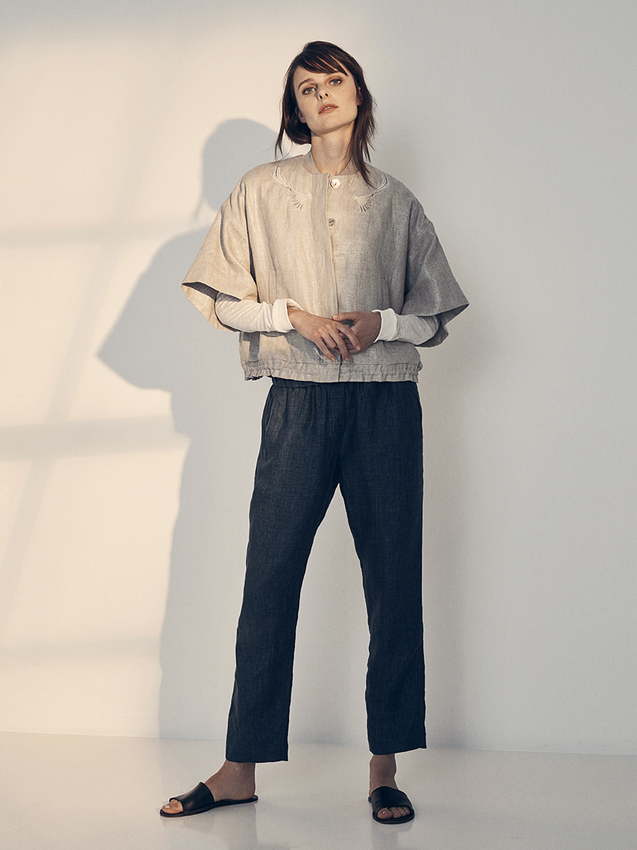 ALFREDO JACKET   SILVER COATED LINEN  SILK CHARMEUSE LINING  BIRD EMBROIDERY     PAMELA BLOUSE   STRETCH KNIT LINEN     SALVATORE PANT   WASHED LINEN     Contact for inquiry