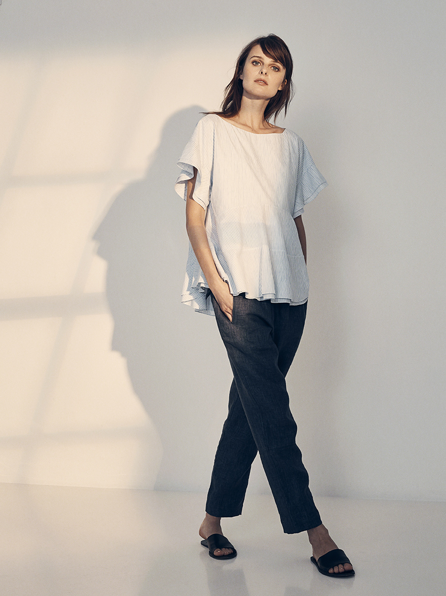 BOBBY BLOUSE   COTTON & LINEN PINSTRIPE     SALVATORE PANT   WASHED LINEN     Contact for inquiry