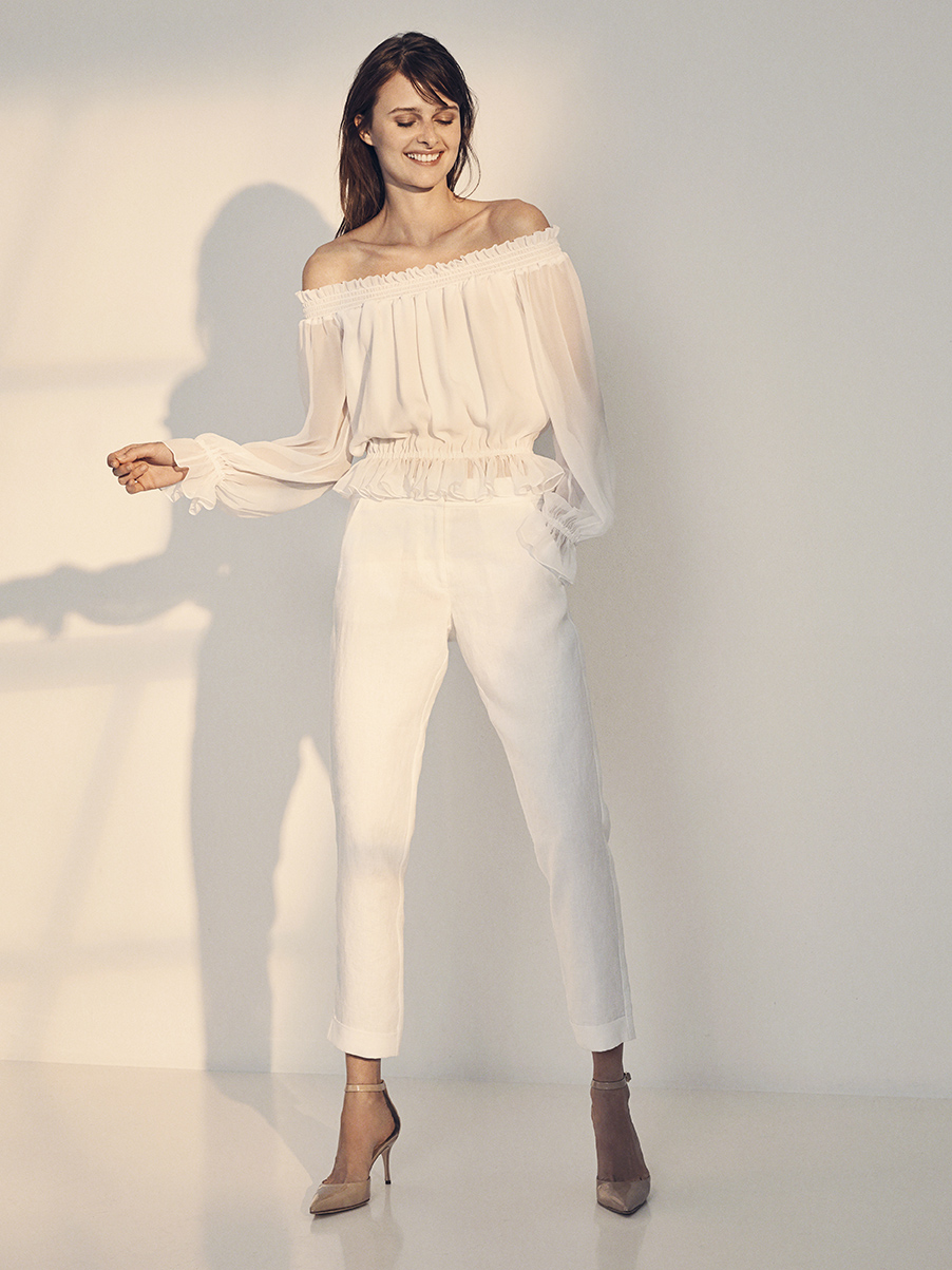 MONA BLOUSE   SILK CHIFFON  SILK CHARMEUSE LINING     NIXON PANT   WASHED LINEN  LIGHT COTTON LINING     Contact for inquiry