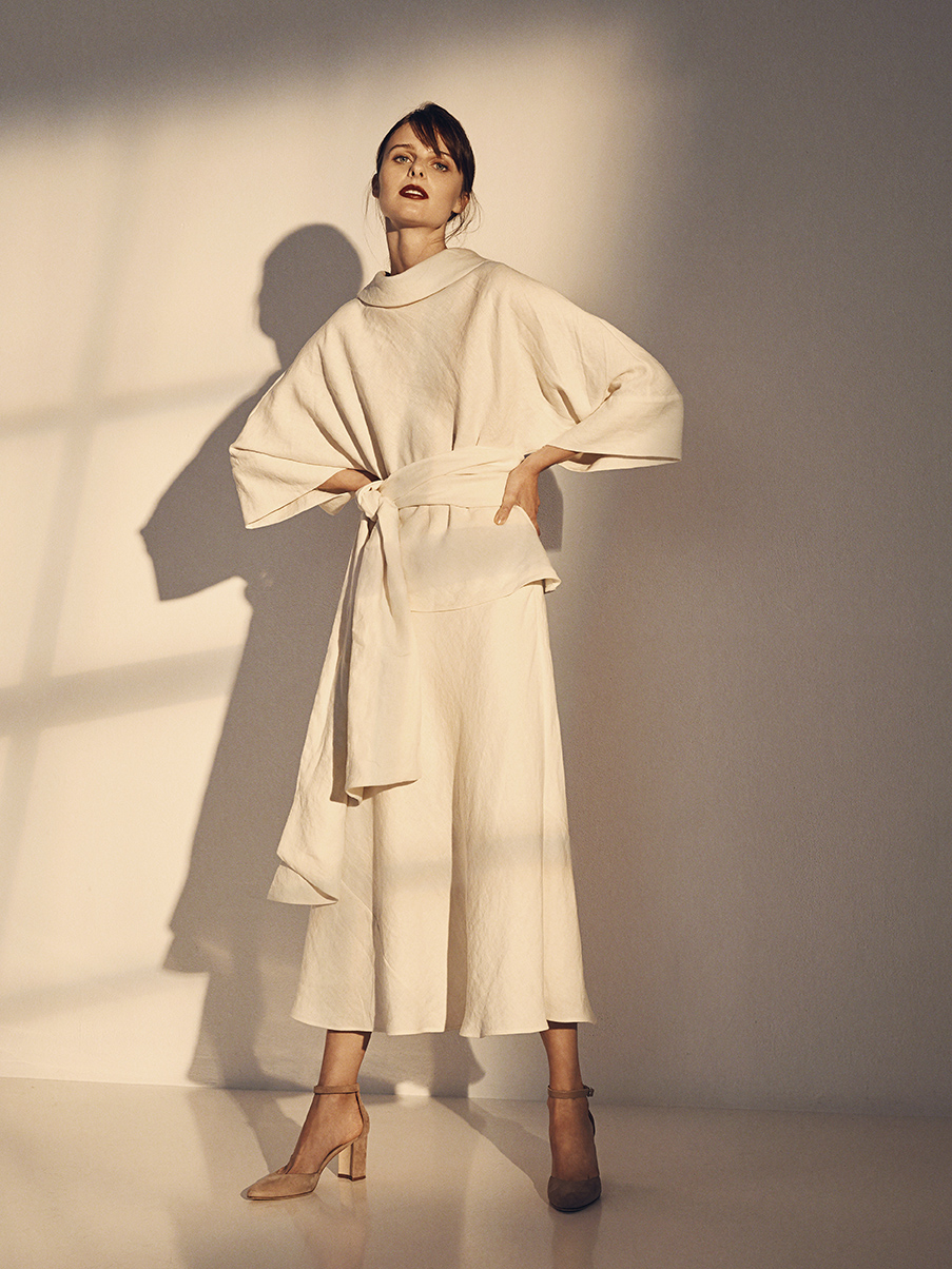 ALIDA BLOUSE WITH BELT   WASHED LINEN     DAVID BIAS SKIRT   WASHED LINEN  LIGHT COTTON LINING     Contact for inquiry