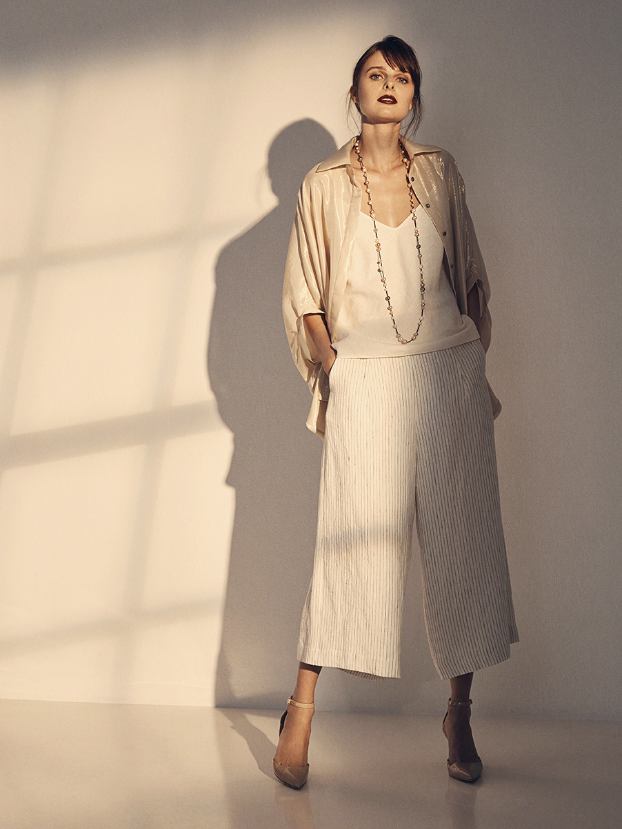 ROSA BLOUSE   SILK RAYON LAMÉ  SILK CHIFFON LINING     ANOUSHKA CAMI   WASHED LINEN     JACKIE PANT   WASHED LINEN  NON-STRETCH SILK CHARMEUSE LINING     MARYANNE NECKLACE   14K GOLD CLASP  BLACK SPINEL STONES  SOUTH SEA, FRESHWATER, & TAHITIAN PEARLS     Contact for inquiry
