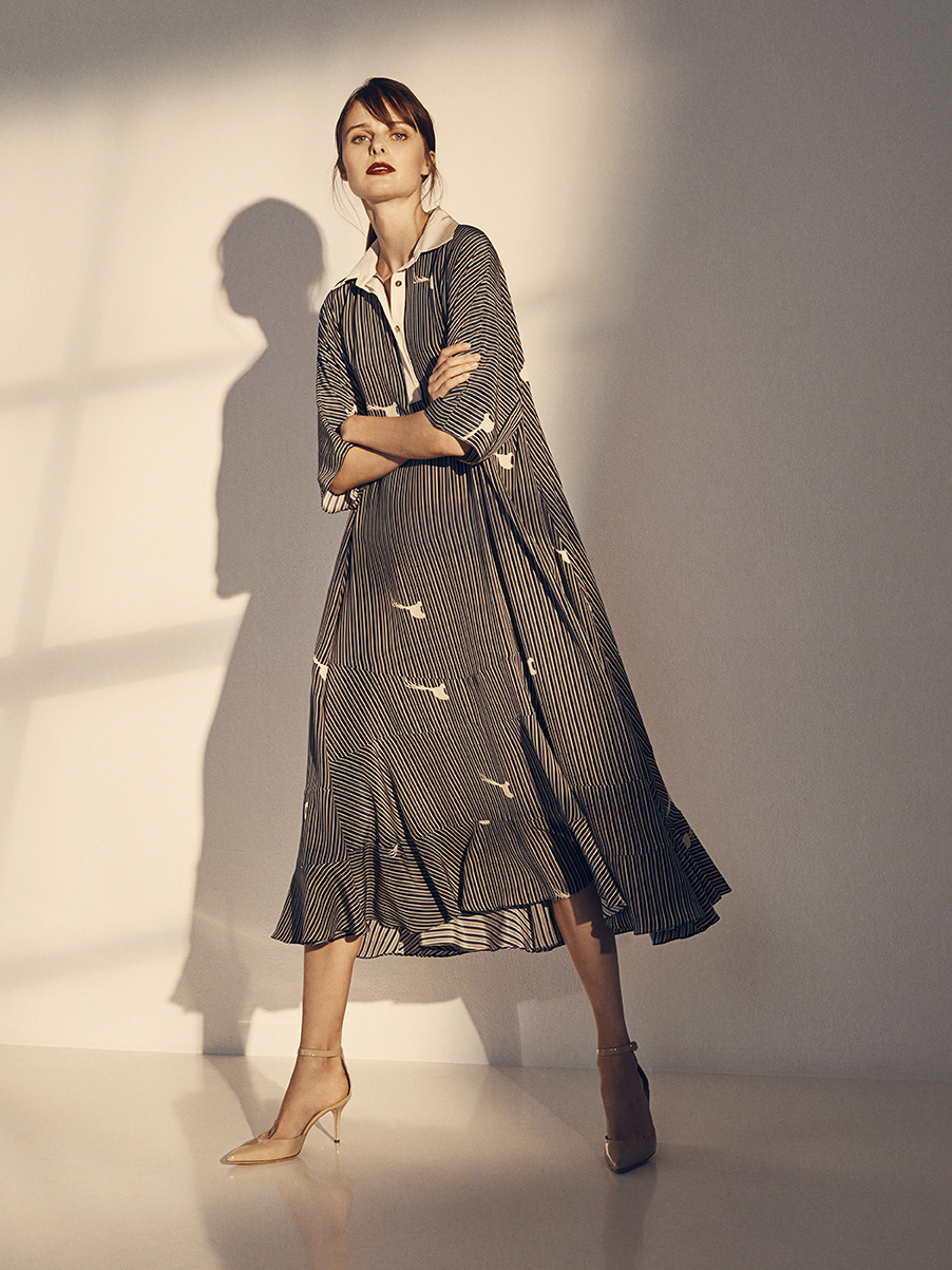 ISADORA DRESS WITH BIRDS   PRINTED SILK CREPE DE CHINE     Contact for inquiry