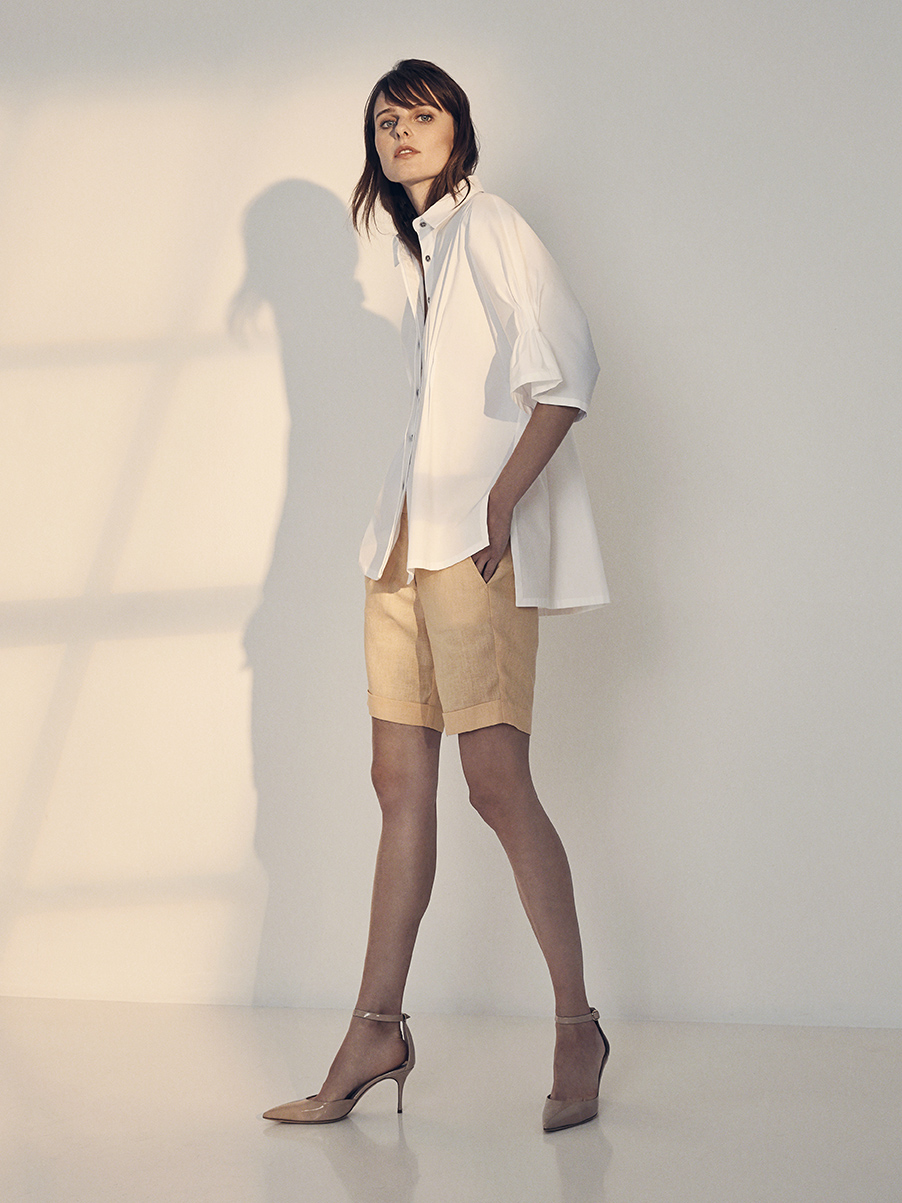 INEZ BLOUSE   STRETCH COTTON     NIXON SHORTS   WASHED LINEN     Contact for inquiry