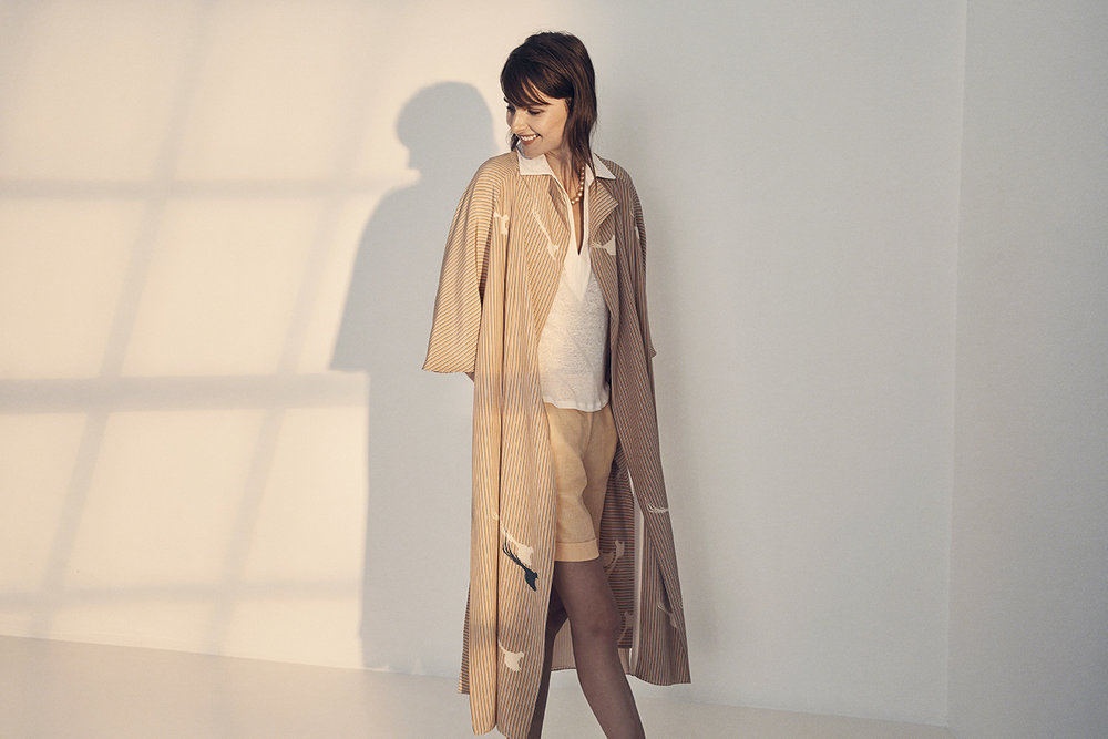 GARANCE TRENCH WITH BIRDS REGINA SHIRT NIXON SHORTS2low.jpg