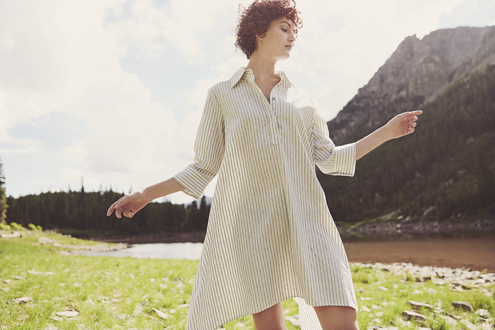 SAYURI DRESS,  Cotton and Linen Textured Stripe $1,250