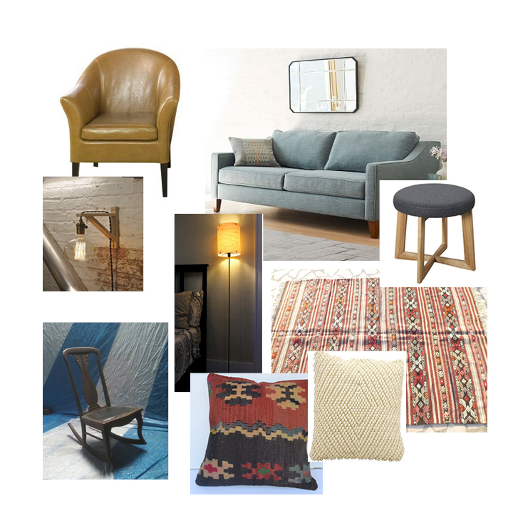 From top left: 1) chair 2) couch 3) sconce 4) lamp 5) stool 6) rug 7) rocking chair (craigslist) 8) kilim pillow 9) cream pillow