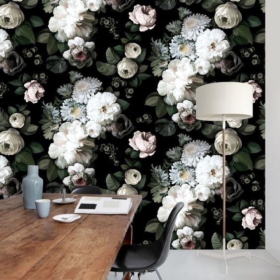 Dark Floral Wallpaper  by Ellie Cashman