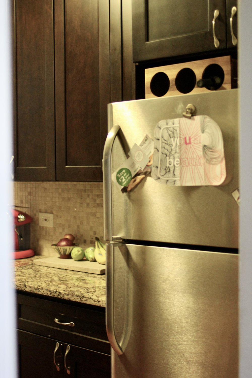 Refrigerator in kitchen decor