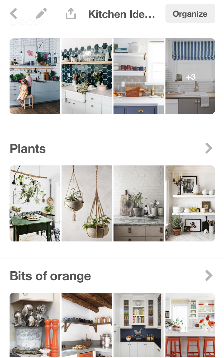 Pinterest board of images with kitchen decor ideas like adding orange, plants, and countertop items