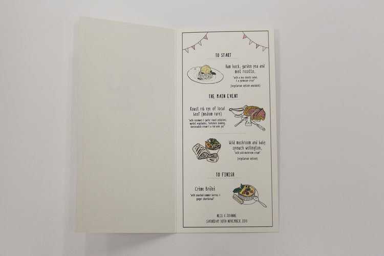 Illustrated Menu Card Sample  Rose Cottage Designs