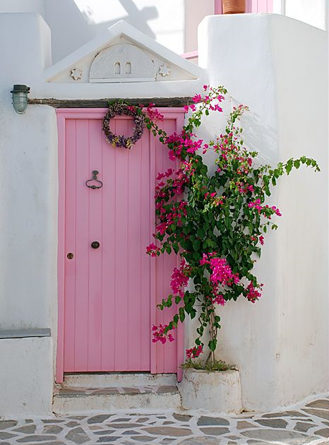 Pink doors of Greek islands